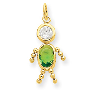 14K Gold August Boy Gemstone Charm