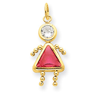 14K Gold October Girl Gemstone Charm