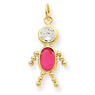 14K Gold October Boy Gemstone Charm