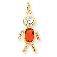 14K Gold November Boy Gemstone Charm