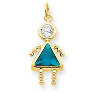 14K Gold December Girl Gemstone Charm