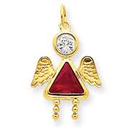 14K Gold July Girl Angel Birthstone Charm