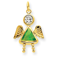 14k Gold August Girl Angel Birthstone Charm