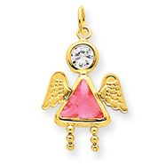 14K Gold October Girl Angel Birthstone Charm