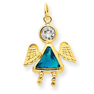 14K Gold December Girl Angel Birthstone Charm