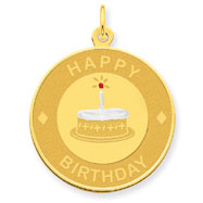 14K Gold Birthday Cake Disc Pendant