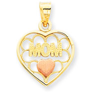 14K Gold Two-Tone Mom With  Heart Charm
