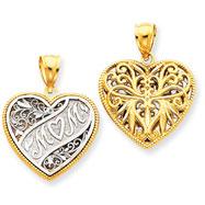 14K Two-Tone Gold Reversible Mom Heart Pendant