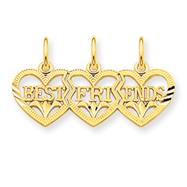 14K Gold Triple Heart Diamond Cut  Best Friends Break-Apart Pendant