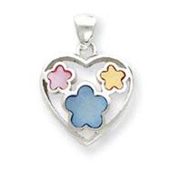 Sterling Silver Eneameled Heart Pendant