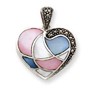 Sterling Silver Marcasite And Enameled Pendant