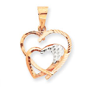 14K Rose Gold And Rhodium Hearts Pendant