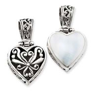 Sterling Silver Reversible Mother Of Pearl Heart Pendant