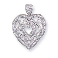 Sterling Silver CZ Fancy Heart Pendant