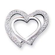 Sterling Silver CZ Double Heart Pendant