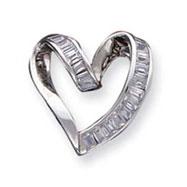 Sterling Silver CZ Fancy Heart Pendant