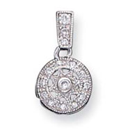 Sterling Silver CZ Fancy Chain Slide Pendant