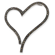 Sterling Silver Marcasite Open Heart Slide