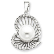 Sterling Silver CZ Simulated Pearl Heart Pendant