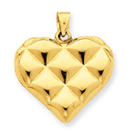 14K Gold Quilted Puffed Heart Pendant