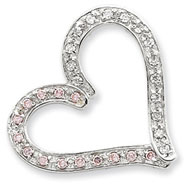 Sterling Silver Pink And Clear CZ Chain Slide