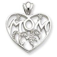 Sterling Silver CZ Mom Heart Pendant