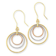 14K Tri-Color Gold Circle Dangle Earrings