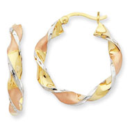 14K Two-Tone Gold & Rhodium Twisted Hoop Earrings