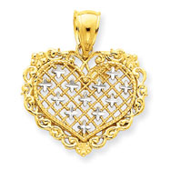 14K Two-Tone Gold Filigree Pendant