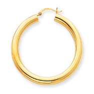 14K Gold Polished 5x45mm Tube Hoop Earrings