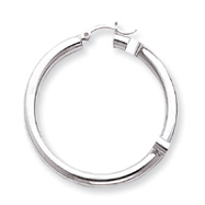 14K White Gold 4x45mm Tube Hoop Earrings