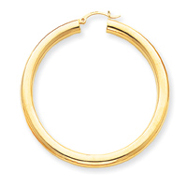 14K Gold  Polished 5x55mm Tube Hoop Earrings
