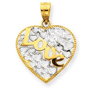14K Two-Tone Gold Heart With Love Pendant