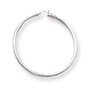 14K White Gold Diamond-Cut 3x65mm Round Hoop Earrings