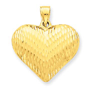 14K Gold Diamond Cut Puffed Heart Pendant
