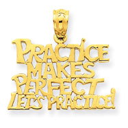 14K Gold Practice Makes Perfect Lets Practice Pendant