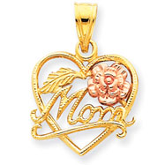 14K Two-Tone Gold Mom Heart With Rose Charm