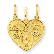 14K Gold 3 Piece Break-Apart Big Sis, Sis & Lil Sis Charm