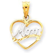 14K  Gold & Rhodium Mom Heart Pendant