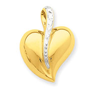 14K Gold & Rhodium Heart With Swirl Charm