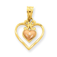 14K Two-Tone Gold Satin Diamond-Cut Fancy Double Heart Pendant
