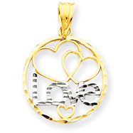 14K Gold & Rhodium Love Heart Pendant