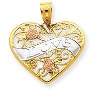 14K Two-Tone Gold & Rhodium Love Heart Pendant