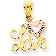 14K Two-Tone Gold Love Heart Pendant