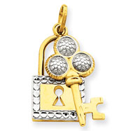 14K Gold  Rhodium Lock & Key Pendant