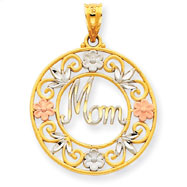 14K Two-Tone Gold And Rhodium Diamond Cut  Mom In Circle Pendant
