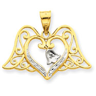 14K Two-Tone Gold And Rhodium Angel Wings Pendant