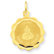 14K Gold Maid Of Honor Charm