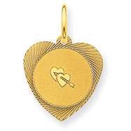 14K Gold Double Heart Charm