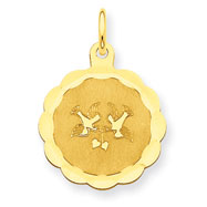 14K Gold Love Birds Disc Charm